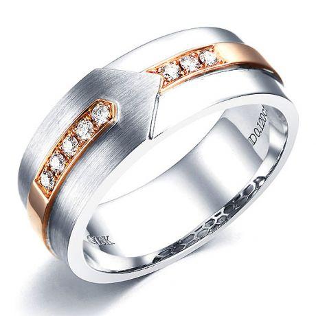 Bague Homme moderne. Or blanc et rose 18cts, 8 Diamants VS / G | Camillo