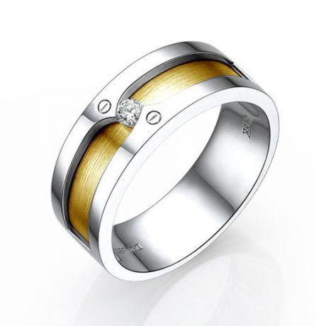Anello Uomo - Due Ori 9.50gr - Diamante 0.060ct
