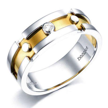 Bague Homme or enlacé - Or blanc et jaune - Diamant 0.025ct