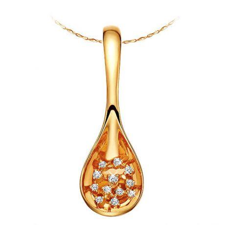 Pendentif cuillère - Pendentif joaillerie or jaune et diamants