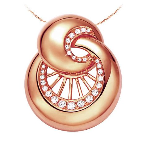 Pendentif coquillage or rose 18 carats - 27 Diamants 0.26ct