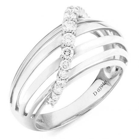 Bague contemporaine or - Barrettes or blanc, diamant - Diamants 0.394ct