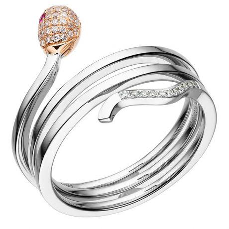 Anello Donna - Due ori 4.95gr - Diamanti e Rubini 0.17ct