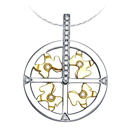 Ciondolo - Due ori 3.75gr - Diamanti 0.080ct