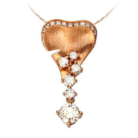 Pendentif Nature, création de joaillerie en or rose - Diamants 0.58 ct