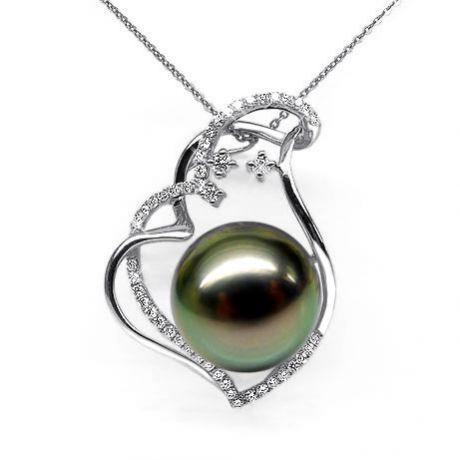 Pendentif coeur nébuleux, romantique - Perle Tahiti - Or blanc, diamants