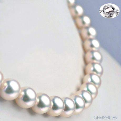 Collier luxe haute joaillerie - Perles fines Akoya Japon - 9/9.5mm
