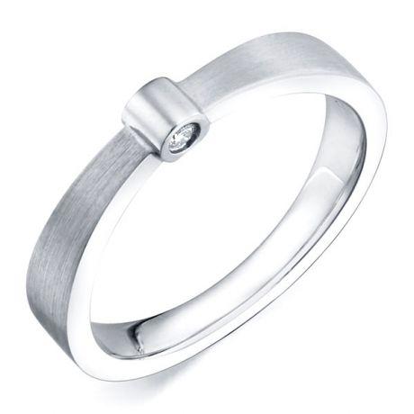 Bague anneau or blanc - 2 Diamants sertis clos   Dunham