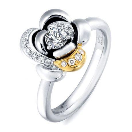 Bague 2 ors - Bague fleur or - Pétales diamantées