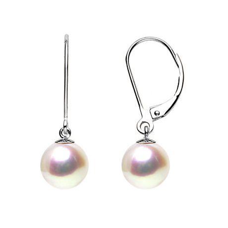 Boucles d'oreilles perles d'eau douce blanches - 8/9mm - GEMME - Or blanc