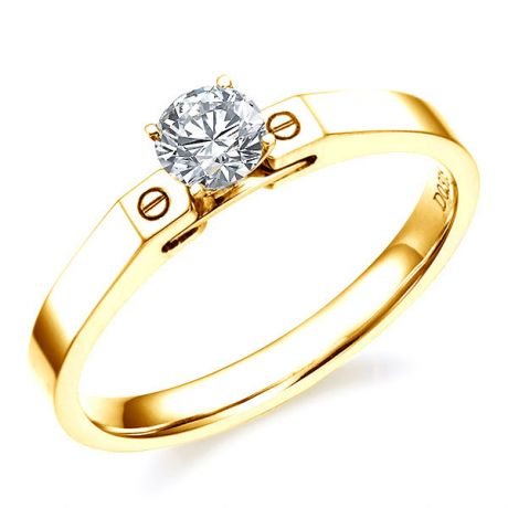 Bague solitaire or jaune - Diamant 0.30ct