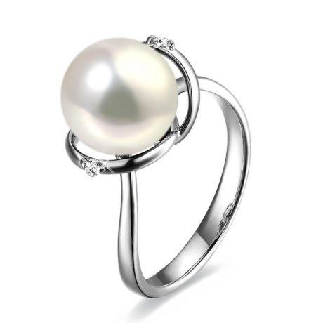 Anello curve oro bianco - Perla acqua dolce bianca - 9/10mm