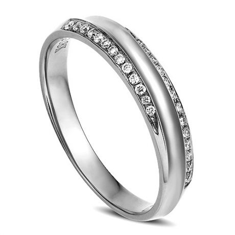 Alliance Femme. Or blanc. Diamants 0.11ct