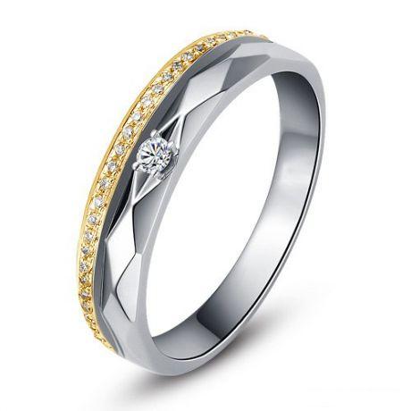 Alliances Homme 2 ors - Or blanc, jaune - Diamants - Anneau à facettes