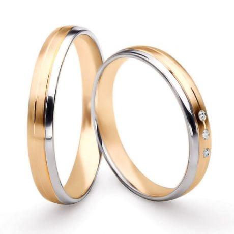 Bijoux alliances mariage. Alliances couple. Or rose et blanc 18ct | Bergman & Gary