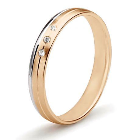 Alliance Or Rose & Blanc - Bague créative pour Femme - Diamants clos