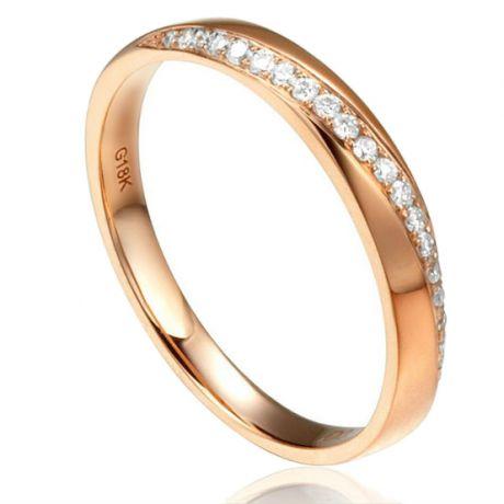 Alliance Or rose 18cts, diamants. Sertissage formant une ondulation   Aurelia