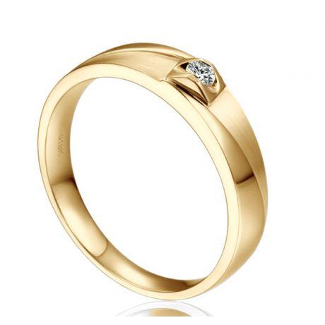 Alliance Giuliana Brossée et Polie Or Jaune, Diamant - Femme | Gemperles
