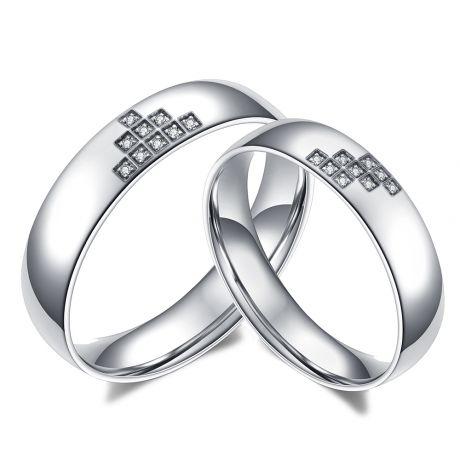 Alliances couple Tetris. En diamants et Or blanc