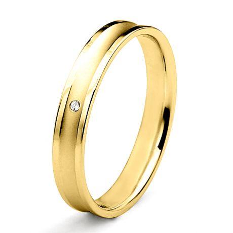 Alliance Femme en or jaune et diamant - Incurvation précieuse