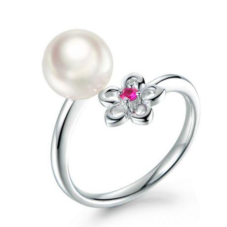 Anello Fiore in oro bianco, perla Akoya e Zaffiro rosa