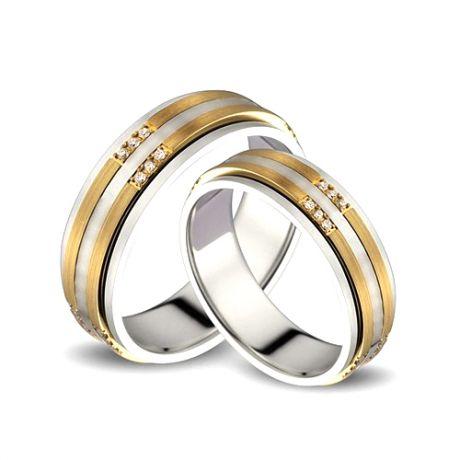 Alliances Couple. 2 Ors. Diamants 0.160ct