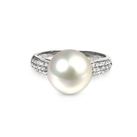 Anello classico oro bianco, diamanti - Perla acqua dolce bianca - 10/11mm
