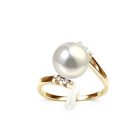 Anello oro giallo - Perla acqua dolce bianca, crema - 9/10mm