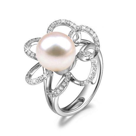 Anello fiore oro bianco - Perla acqua dolce bianca - 10/11mm