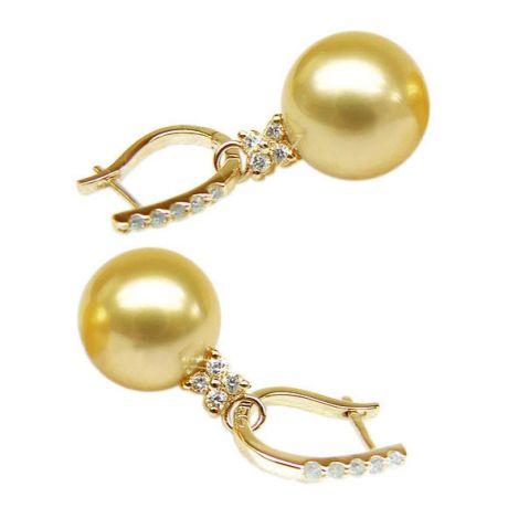 Orecchini perle d'Australia dorate. Monachella oro giallo, diamanti - 12/13mm