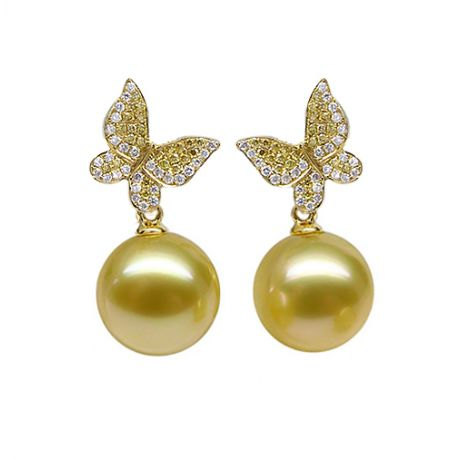 Pendants d'oreilles Papillon. Or jaune, Perle d'Australie dorée, Diamants
