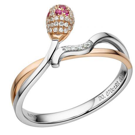 Bague 2 ors - Or blanc et rose - Allumette diamantée - Diamants, rubis