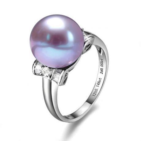 Bague or perle de culture - Perle lavande Chine - Or blanc, diamants