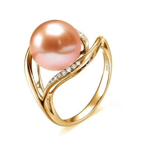 Bague femme perle - Or jaune, diamants - Perle de culture rose