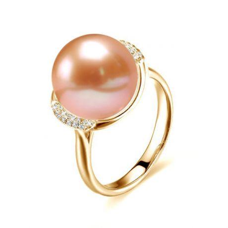Bague circulaire plateau or jaune diamants - Perle culture rose