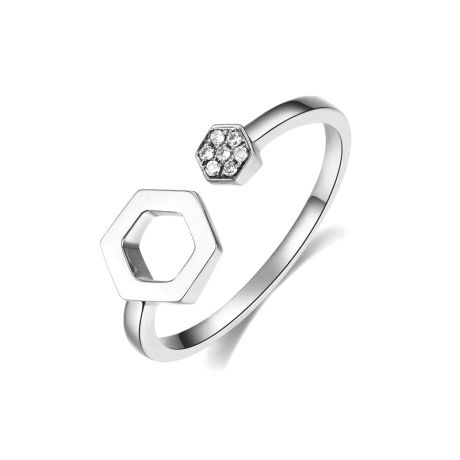 Bague ouverte hexagone. Or blanc 18cts, diamants 0.030ct
