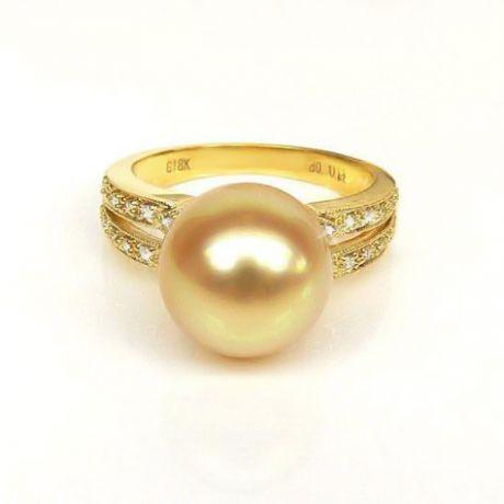 Anello oro giallo, diamanti - Perla d'Australia dorata, gold - 10/11mm