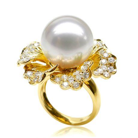 Anello fiore oro giallo - Perla d'Australia bianca - 13/14mm