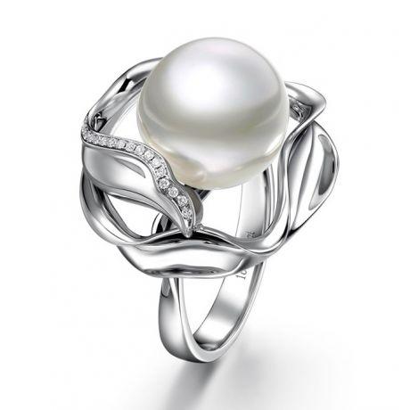 Anello oro bianco, diamanti - Perla d'Australia bianca - 11/12mm