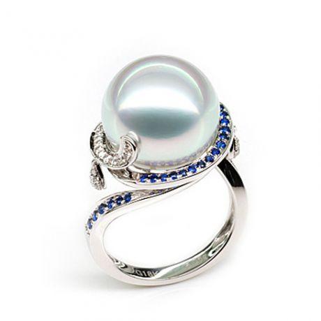 Anello dell'isola Bruny - Perla d'Australia bianca - Diamanti, zaffiri