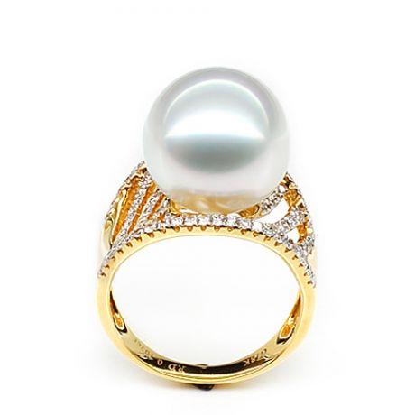Anello isole Cocos - Oro giallo e perla dei Mari del Sud - Diamanti