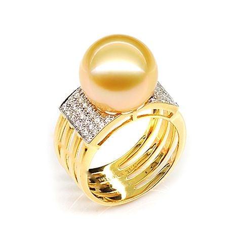 Bague Îles Ashmore-et-Cartier - Or jaune, diamants, perle d'Australie