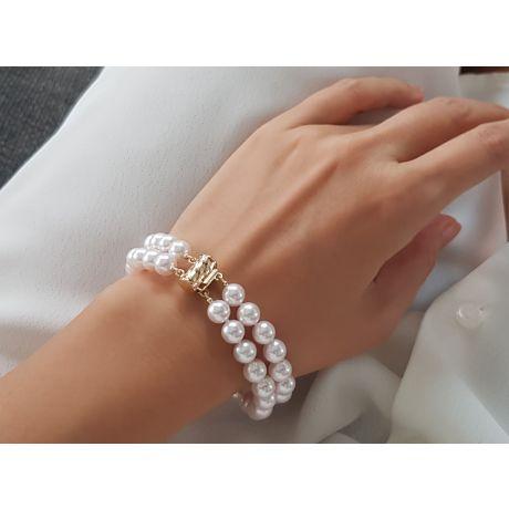 Bracelet 2 rangs de perles Akoya du Japon - 7/7.5mm, AAA