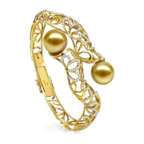 Bracciale rigido oro giallo, diamanti - Perle d'Australia dorate, gold - 13/14mm