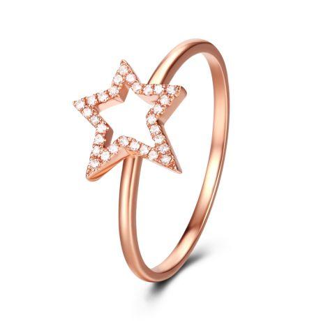 Anello Stellare. Oro rosa 18 carati e diamanti