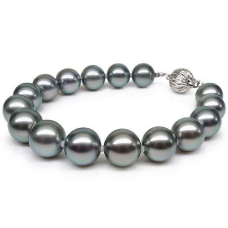 Bracelet perles de Tahiti grises - 9/10mm - Fermoir Or