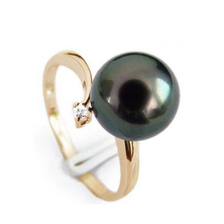 Anello oro giallo - Perla di Tahiti nera, bronzo - 8.5/9mm