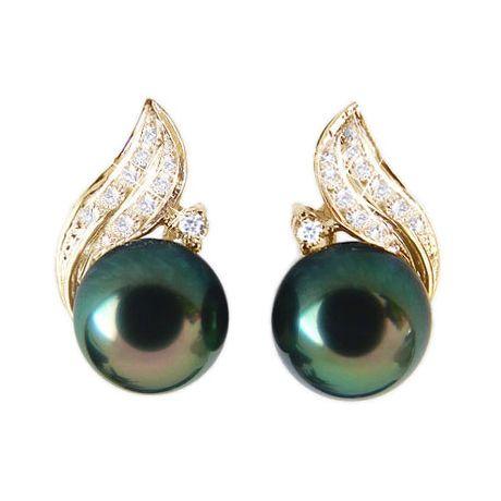 Boucles oreilles perles - Rosée du soir tahitienne - Or jaune, diamants