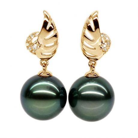 Boucles oreilles ailes - Symbole liberté - Perles de Tahiti or jaune