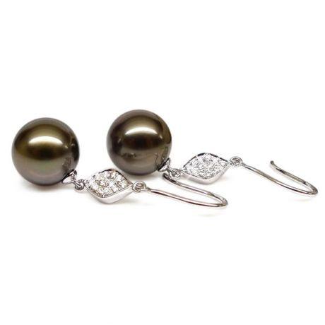 Boucles oreilles - Crochets perles de Tahiti -  Or blanc, diamants pavés